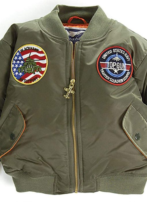 Kids' 7-Patch MA-1 Green Flight Jacket – 2